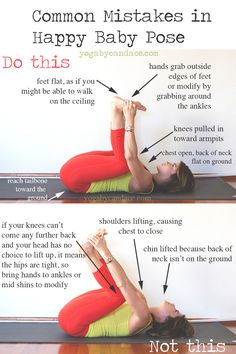 Pin now, practice later - common mistakes in happy baby pose. Wearing: athleta balance capri, lululemon top (new style). Using: black mat pro.
