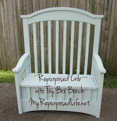 Refurbished crib into bench/ toybox