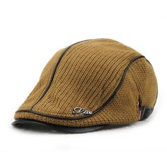 Unisex Knitted PU Leather Beret Hat Knitting Buckle Paper Boy Newsboy Cabbie Gentleman Visor Cap