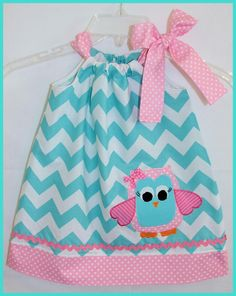 Whimsical Owl Aqua Chevron Applique dress Pink and Aqua. $25.00, via Etsy.