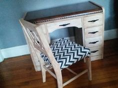 Refinished waterfall desk and chair www.facebook.com/dumpsterdivingprostyle