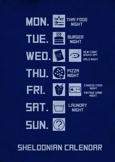 Wish I had a food of the day of the week like Sheldon