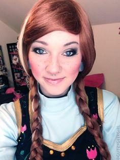 Princess Anna Makeup and Hair by glitzygeekgirl on deviantART #cosplay #disney #frozen