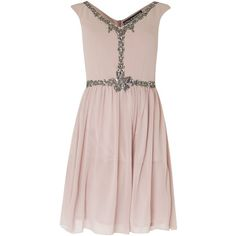 Little Mistress Sleeveless Embellished Fit and Flare Dress ($90) ❤ liked on Polyvore featuring dresses, mink, women, little mistress dresses, fit flare dress, lined dress, embelished dress and pink dress