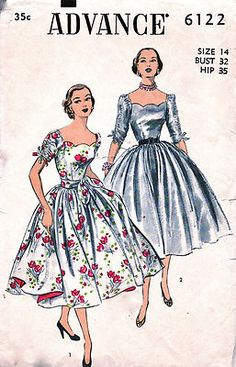 Vintage 50s Scallop Neckline Ruched Sleeve Full Skirt Dress Pattern 6122 FF B32