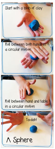 sculpting a sphere, teaching 3D shapes with Play Doh