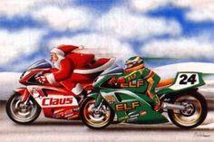 Motorcycle Santa and Elf | Biker Christmas Card