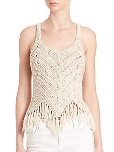 Alice And Olivia Tassel Trimmed Tank Top In Natural Macrame Colar, Macrame Dress, Macrame Knots, Macrame Art, Macrame Design, Creation Couture, Macrame Tutorial, Macrame Patterns, Crochet Clothes