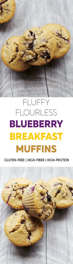Refined sugar-free flourless blueberry muffins - a great meal prep breakfast recipe, use gluten-free oats for gf version | healthy blueberry muffins | oatmeal muffins