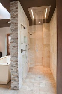 Two person shower, wall, lighting, floor for the master bath