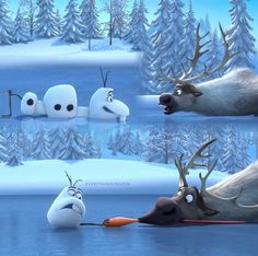 "Remember the first Frozen 'first look' we got in the US as our first ""trailer"" with just Olaf and Sven playing around? Then we saw the foreign trailers and we we're like WHAT"