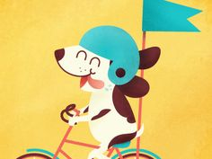 Fun Times designed by Karen Dessire. Connect with them on Dribbble; Corgis, Tweety, Good Times, Bike, Fun, Fictional Characters, Design, Bicycle, Corgi
