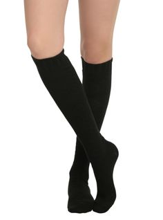 LOVEsick Black Sweater Knit Over-The-Knee Socks | Hot Topic