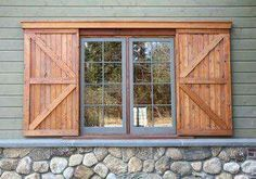 Barn Door Shutters Exterior - Fiberglass exterior doors have the custom capacities of glass, blot, decorative metals, carvin Window Shutters Exterior, Rustic Shutters, Pallet Shutters, Country Shutters, Exterior Paint, Exterior Design, Modern Shutters, Wooden Window Shutters, Cafe Exterior