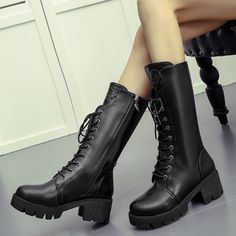 Plain Chunky High Heeled Round Toe Date Outdoor Mid Calf High Heels Boots Flat Boots, High Heel Boots, Heeled Boots, Ankle Boots, Women's Boots, Cheap High Heels, Womens High Heels, Cowgirl Dresses, Chunky High Heels
