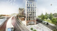 Five Berlin towers connected by a chain of bridges