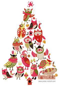 Owl christmas tree cross stitch kit