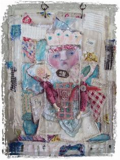 Soar Fly Discover Fabric Collage ART Doll by MOSS HILL STUDIO-JoAnnA Pierotti