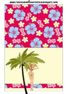 Festa Havaiana na Piscina -Kit Completo com molduras para convites, rótulos para guloseimas, lembrancinhas e imagens! |Fazendo a Nossa Festa...
