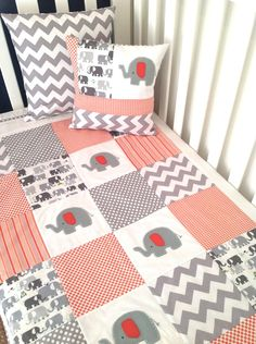 Elephant  Baby  Crib Quilt and Pillow in Orange and Gray.....Ready to ship. $195.00, via Etsy.