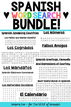 5 bundles of the best Spanish activities to keep students engaged and having fun in Spanish class. Find time saving Spanish resources & games for lesson plans Fun In Spanish, Spanish Word Wall, Middle School Spanish, Elementary Spanish, Spanish Classroom, How To Speak Spanish, Upper Elementary, Spanish Teacher, Easy Spanish Words