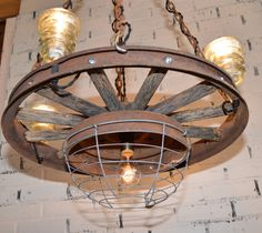 Repurposed Antique Automobile Wheel Chandelier - Farmhouse Chic - Automobile Collectors - Country Home on Etsy, $380.00