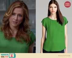 Maura's green cap sleeve top on Rizzoli and Isles.  Outfit Details: http://wornontv.net/34451/ #RizzoliandIsles