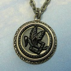 Steampunk Leaf Necklace Antique Button by NicolettesJewelry