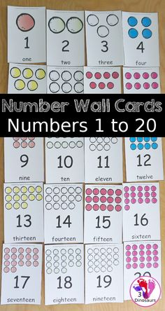 Free Number Wall Cards 1 to 20 - you have number wall cards that are great for PreK and kindergarten with a fun gumball themed with number digit and number word on the cards - 3Dinosaurs.com #freeprintable #3dinosaurs #numberwallcards #numberprintables #kindergarten #prek #preschool Number Activities, Educational Activities For Kids, Counting Activities, Teaching Numbers, Math Numbers, Writing Numbers, Preschool Kindergarten, Kindergarten Worksheets, Teaching Kids