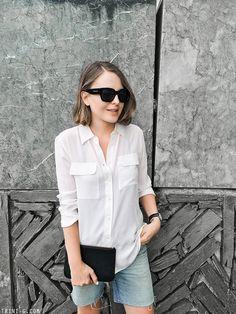 Trini | Equipment signature shirt - Balenciaga sunglasses