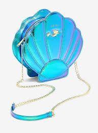 Loungefly Disney The Little Mermaid Holographic Shell Crossbody Bag, Disney Handbags, Purses And Handbags, Moda Fashion, Guys And Girls, Metallic Leather, Holographic, The Little Mermaid, Rainbow Colors, Saddle Bags