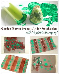 Garden Process Art Project for Preschoolers with Vegetable Stamping ~ BuggyandBuddy.com