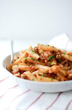Whole Wheat Penne with Italian Sausage Tomato Sauce | Whole Wheat Pasta Recipe | Italian Sausage Recipe | ateaspoonofhappiness.com