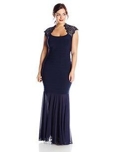 Xscape Women's Plus-Size Cap Lace Sleeve Banded Gown, Navy, 14W >>> Learn more by visiting the image link.