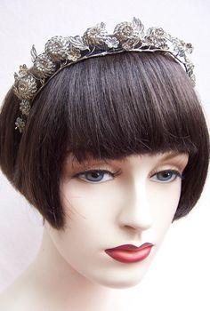 Edwardian Silver tone Filigree Tiara with Floral Motifs Hair Accessory
