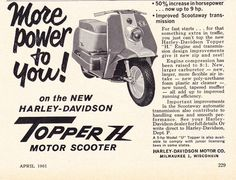 Harley Topper H 1961 Motor Scooters, Vespa, Vintage Ads, Engineering, Wheels, Advertising, Dreams, American, Classic