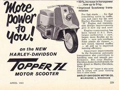 Harley Topper H 1961 Motor Scooters, Vespa, Vintage Ads, Engineering, Wheels, Advertising, Dreams, American, Classic