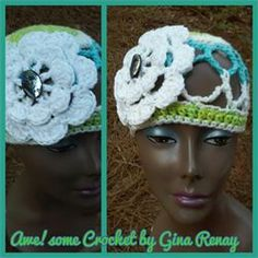 CROCHET 1 HAT DAILY! Day 296 AWE!Some Crochet by Gina Renay Mesh hat with crochet flower, #beach #spring #summer #natural #cool #hat #beadl