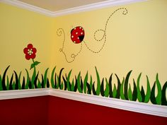 Ladybugs, Hand painted details for the Ladybug Nursery (before furnishings were put in), hand painted grass and ladybugs for the nursery. Ladybug Room, Ladybug Nursery, Baby Ladybug, Ladybug Decor, Childrens Wall Murals, Kids Wall Murals, School Wall Decoration, School Decorations, Girl Nursery