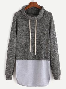 02bf6a1d1c Color Block Drawstring High Neck Slit Side Sweatshirt Cute Lounge Outfits