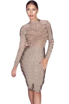 Grey Studded Mesh Bandage Dress LAVELIQ New Years Dress 3f0e1a219202
