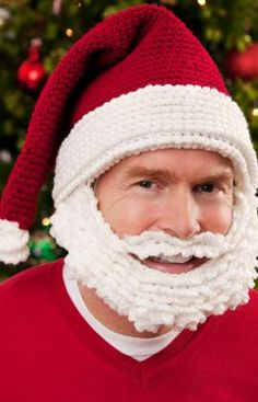 Santa Hat and Beard free #crochet #hat #pattern