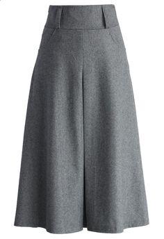 Wool Blend Full Skirt in Grey