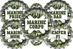 1 Digital Bottle Cap Images Sheets ~ Marines USMC~ INSTANT DOWNLOAD 1962