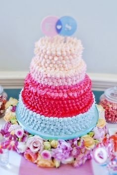 Incredibly colorful wedding cake   created by Tempting Cake   by EFC photography