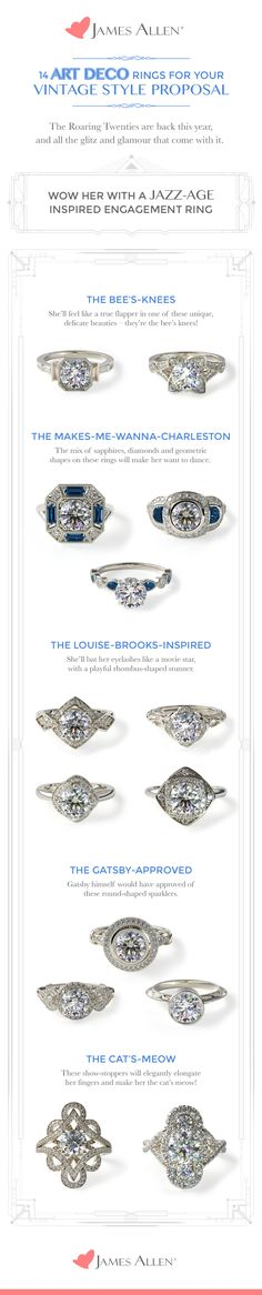 Wow her with an Art Deco engagement ring for your vintage-style proposal.  Which one would you propose with? #JamesAllenRings