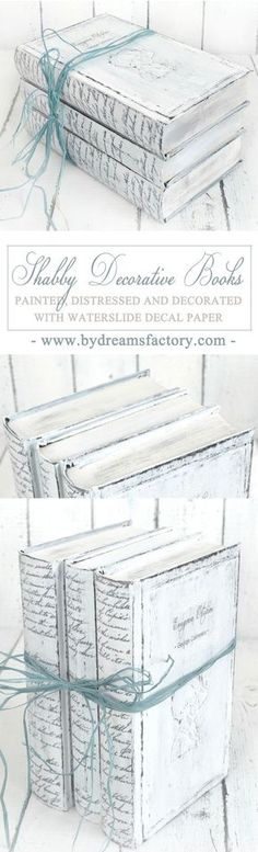 DIY Shabby Decorative Books - Tutorial Decorative Shabby Shabby Chic Project Ideas Project Difficulty: Simple MaritimeVintage.com #Shabby #Chic #Shabbychic #Project