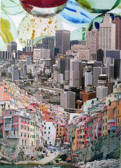 Art No Longer Available Saatchi Online Artist Denis Schäfer; Collage Kunst, City Collage, Painting Collage, Collage Art, Abstract Paintings, Oil Paintings, Landscape Paintings, Saatchi Online, Surrealist Collage