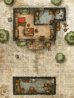 House 02 Color by gogots Fantasy City, Fantasy House, Fantasy Map, Medieval Fantasy, Pathfinder Maps, Building Map, Rpg Map, Map Maker, Medieval Houses