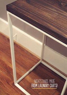 Turn an IKEA hamper into a night stand.
